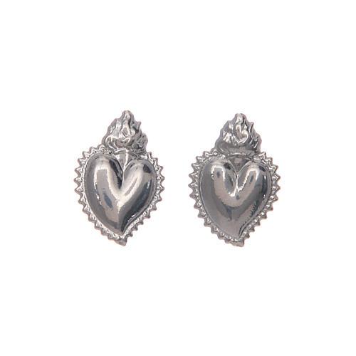 Pendientes con cierre a presión corazón votivo plata 925 4