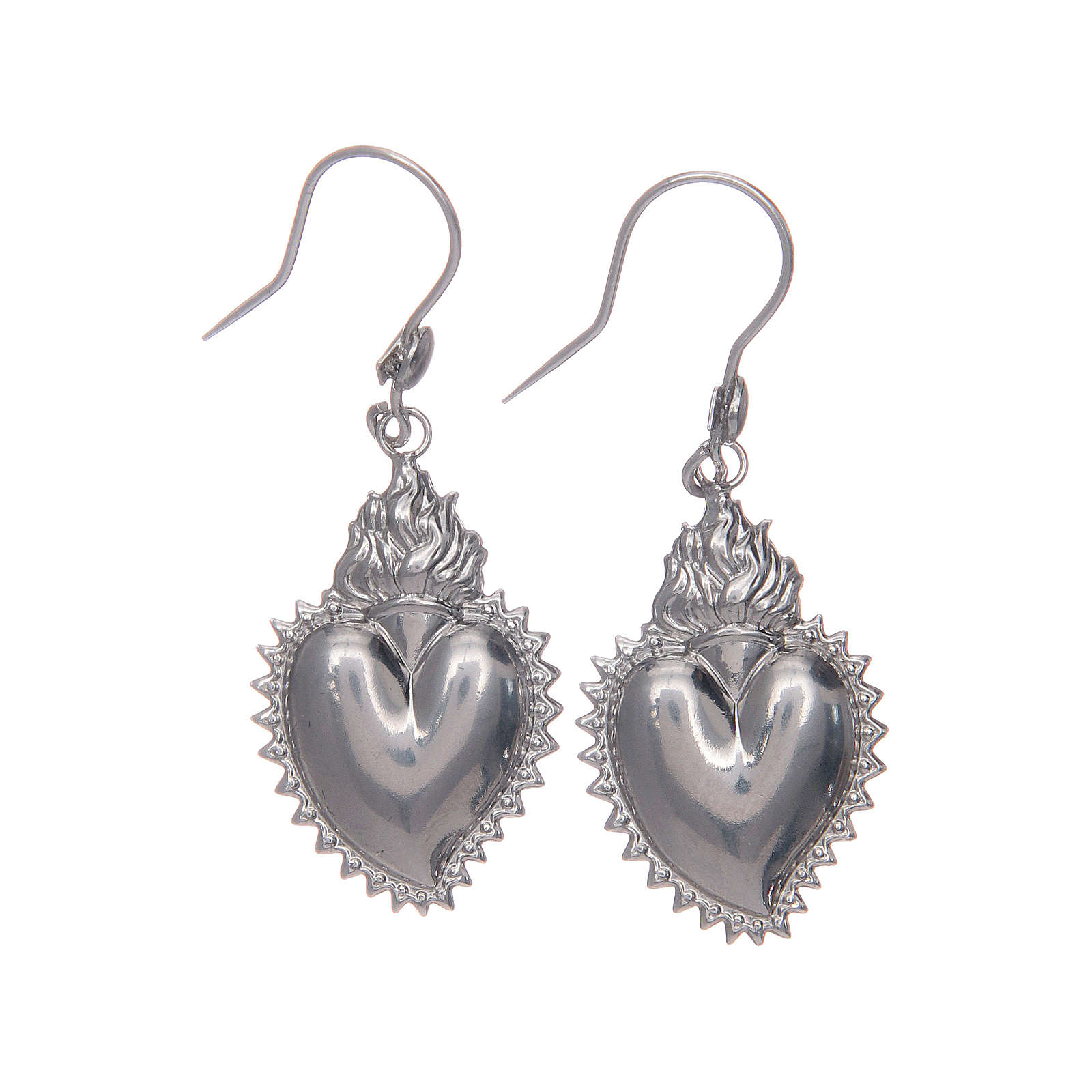 Earrings in 925 sterling silver with silver votive heart 4