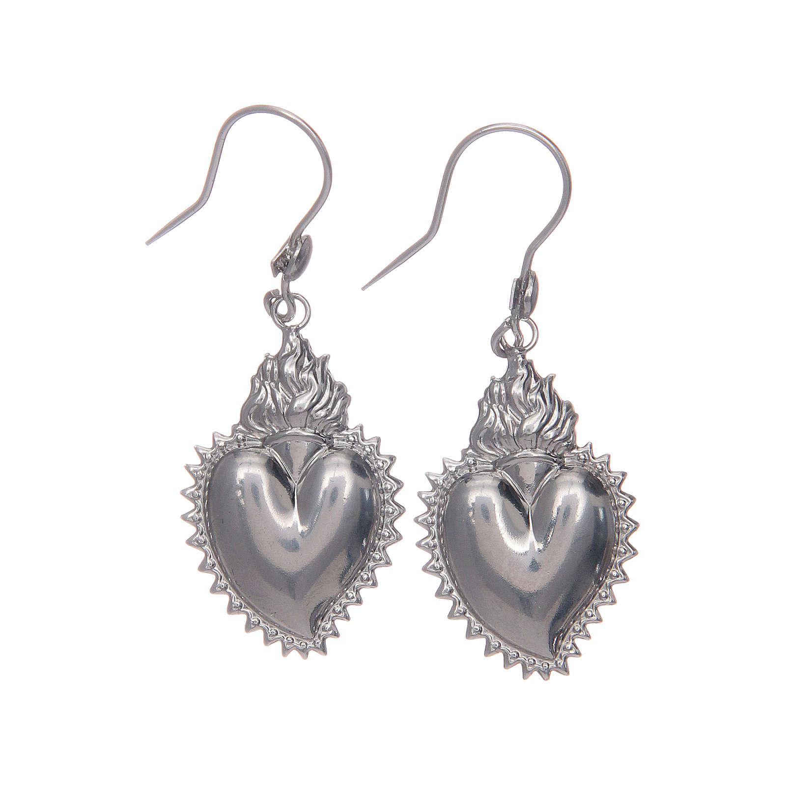 Earrings in 925 sterling silver with silver votive heart 4