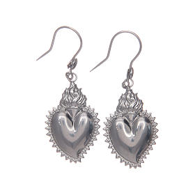 Earrings in 925 sterling silver with silver votive heart s1