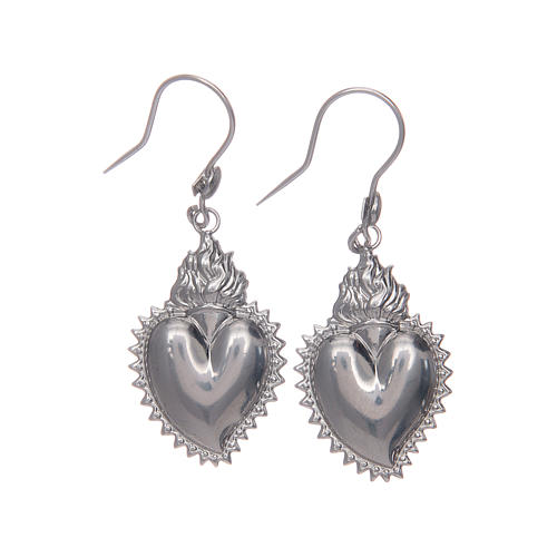Earrings in 925 sterling silver with silver votive heart 1