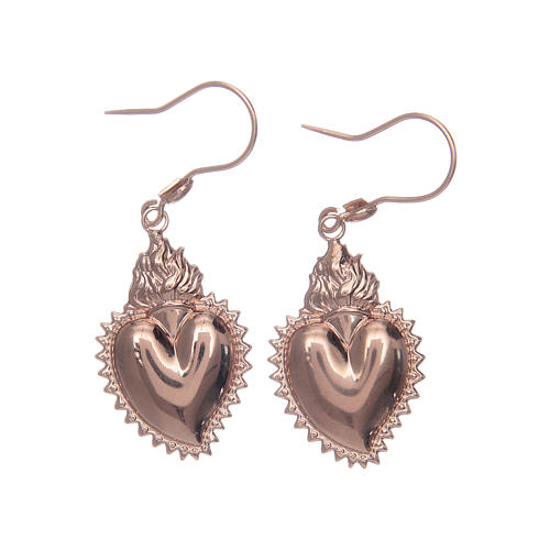 Earrings in 925 sterling silver with rosè votive heart 1