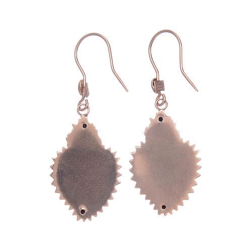 Earrings in 925 sterling silver with rosè votive heart 2