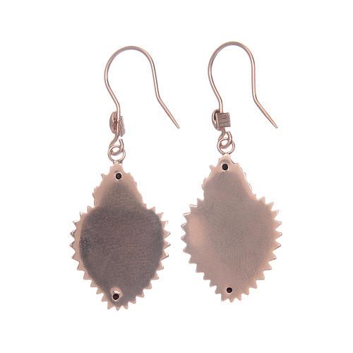 Earrings in 925 sterling silver with rosè votive heart 2