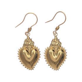 Pingentes, Cruzes, Broches, Correntes: Brincos em prata 925 coração ex-voto dourado