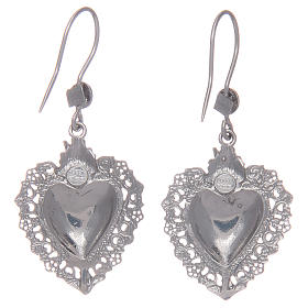 Pendant earrings in 925 sterling silver with votive heart s2