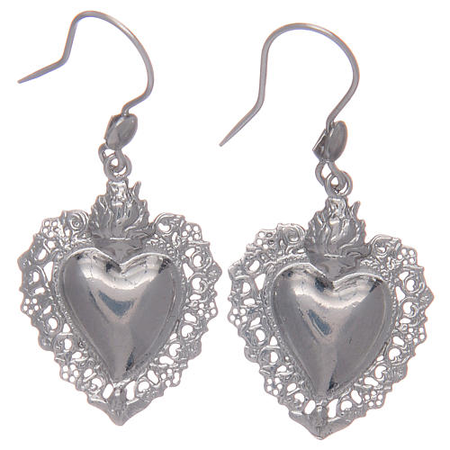 Pendant earrings in 925 sterling silver with votive heart 1