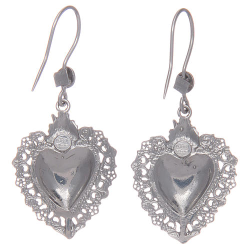 Pendant earrings in 925 sterling silver with votive heart 2