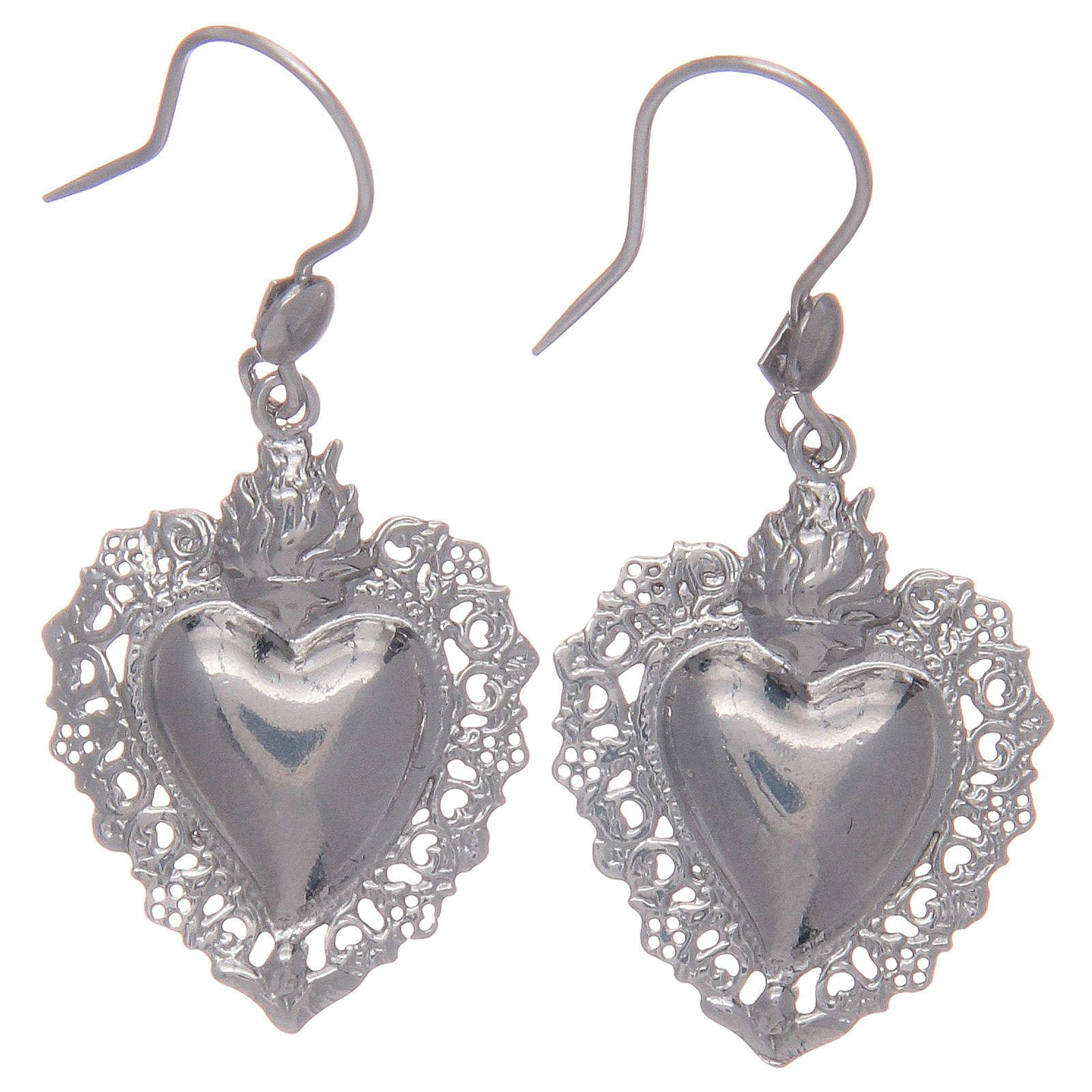 Orecchini pendenti argento 925 con cuore ex voto 4