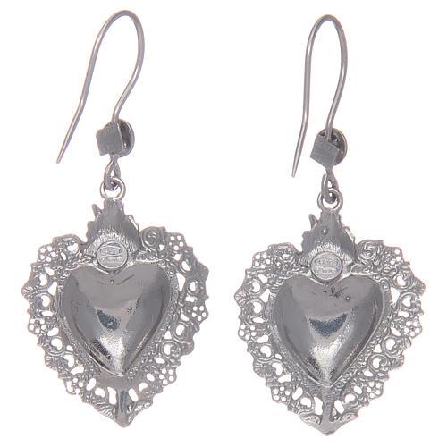 Orecchini pendenti argento 925 con cuore ex voto 2