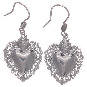 Kolczyki wiszące srebro 925 z sercem ex voto s1