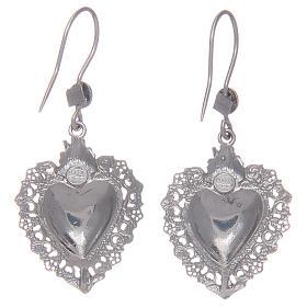 Kolczyki wiszące srebro 925 z sercem ex voto s2