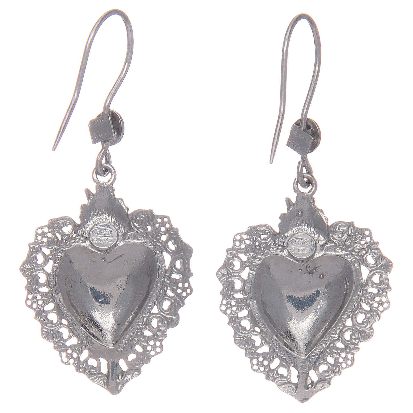 Pendant earrings in 925 sterling silver with votive heart 4