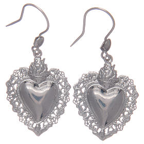 Pendant earrings in 925 sterling silver with votive heart s1