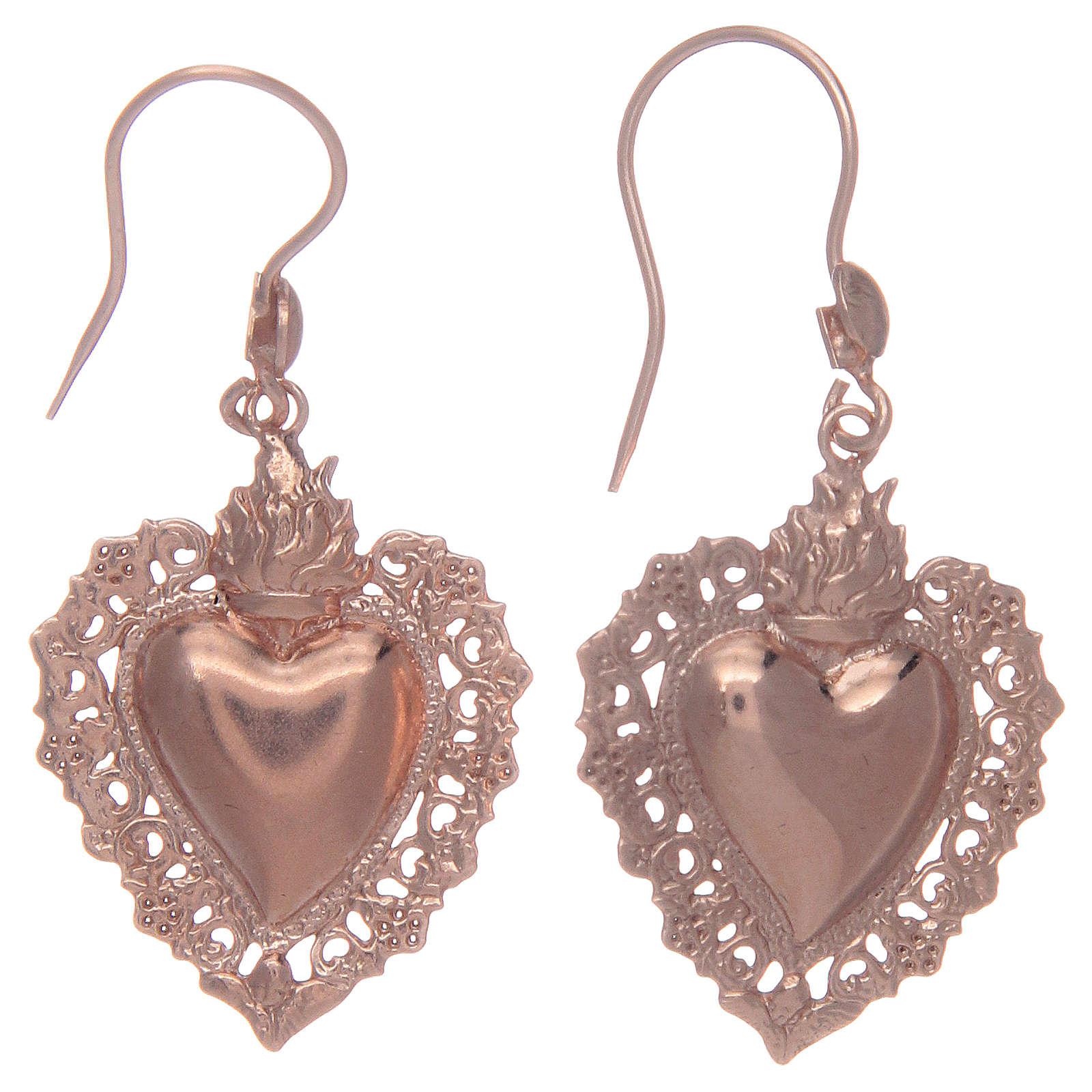Boucles oreilles argent 925 pendentifs rosés coeur ex voto 4