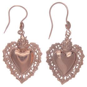 Boucles oreilles argent 925 pendentifs rosés coeur ex voto s1
