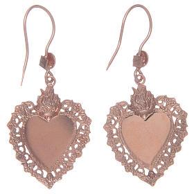 Boucles oreilles argent 925 pendentifs rosés coeur ex voto s2
