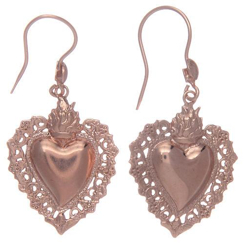Boucles oreilles argent 925 pendentifs rosés coeur ex voto 1