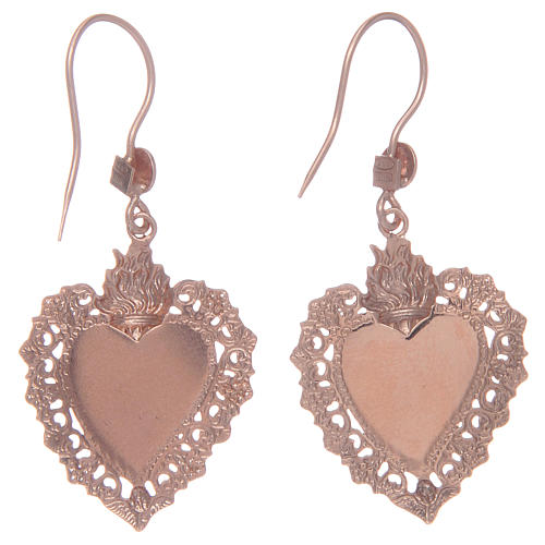 Boucles oreilles argent 925 pendentifs rosés coeur ex voto 2