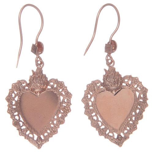 Orecchini argento 925 pendenti rosati cuore votivo 2