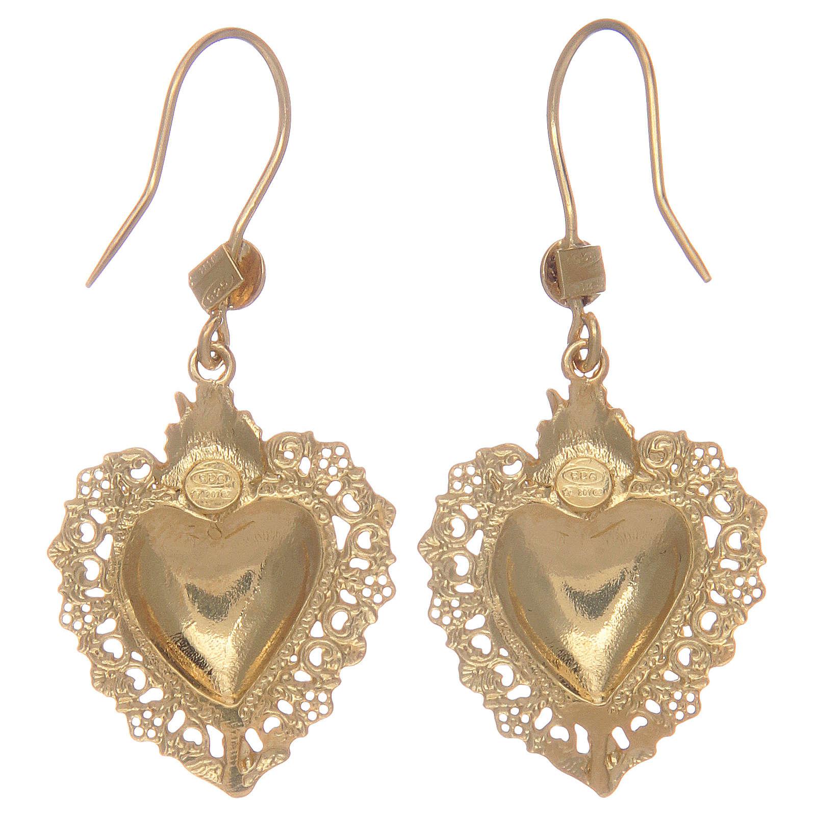 Ohrringe vergoldeten Silber 925 Herz Votivgabe 4