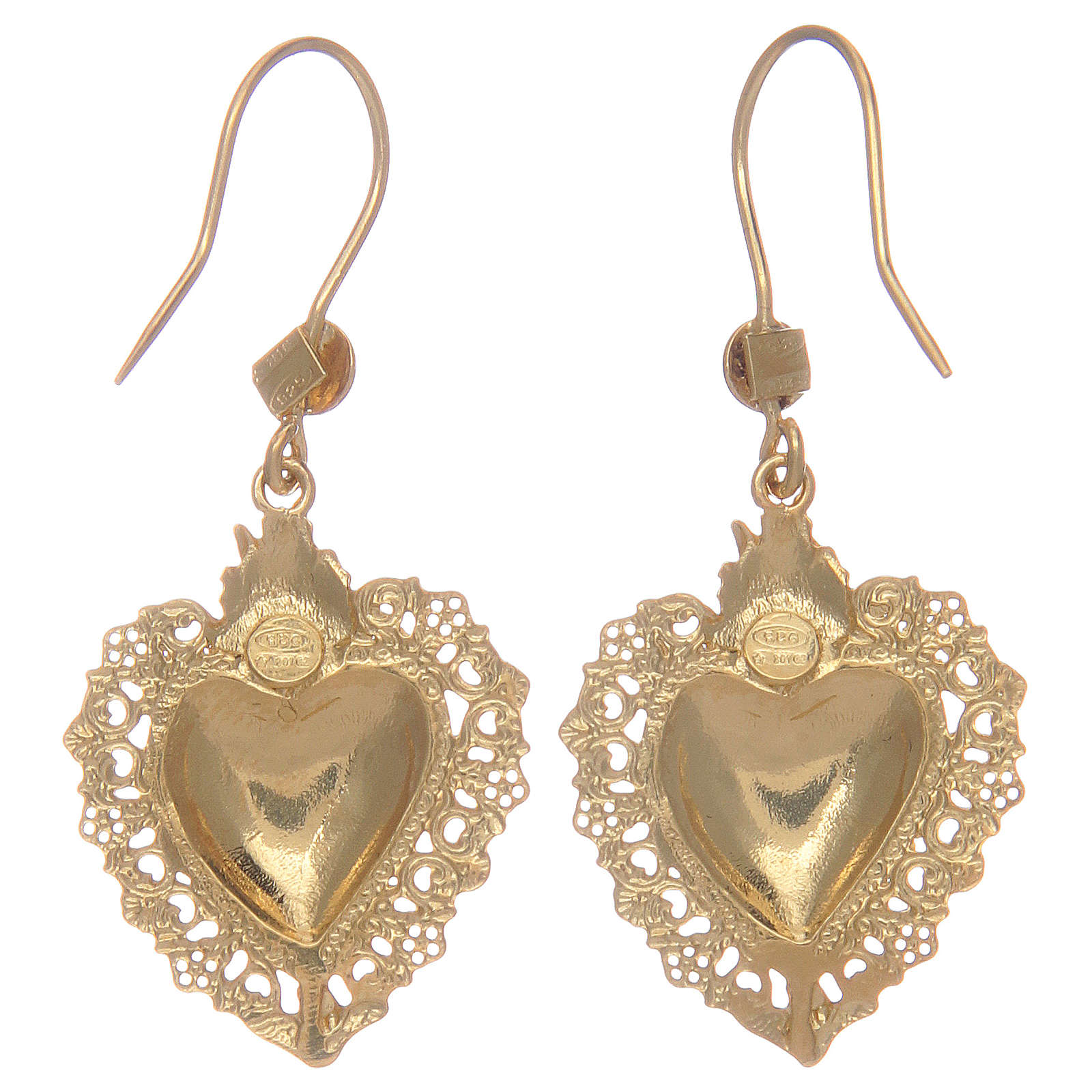 925 sterling silver pendant earrings finished in gold with votive heart 4