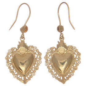 925 sterling silver pendant earrings finished in gold with votive heart s2