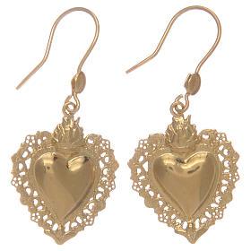 Brincos em prata 925 pingentes dourados com coração ex-voto s1