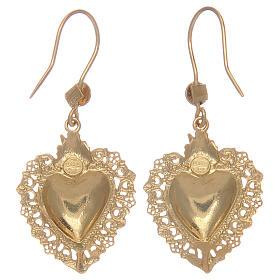 Brincos em prata 925 pingentes dourados com coração ex-voto s2