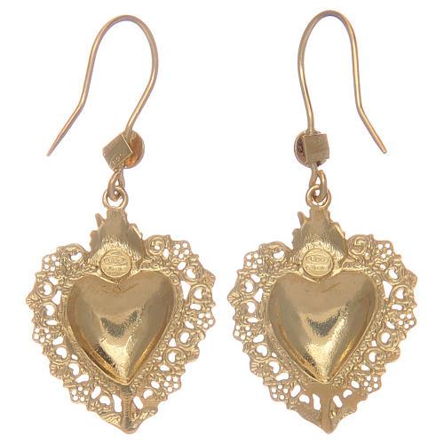 Brincos em prata 925 pingentes dourados com coração ex-voto 2