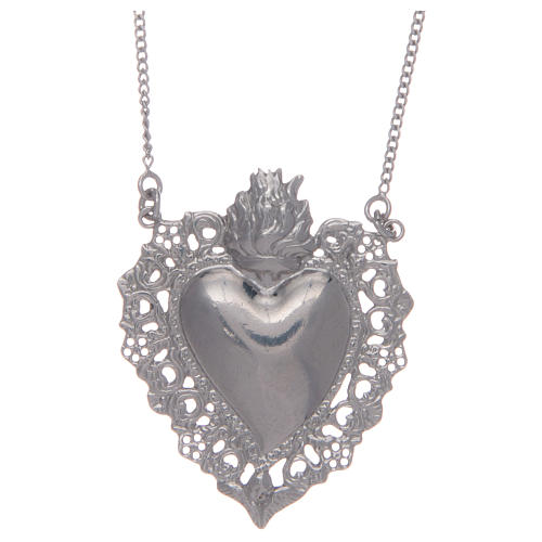 925 sterling silver choker with drilled votive heart 1