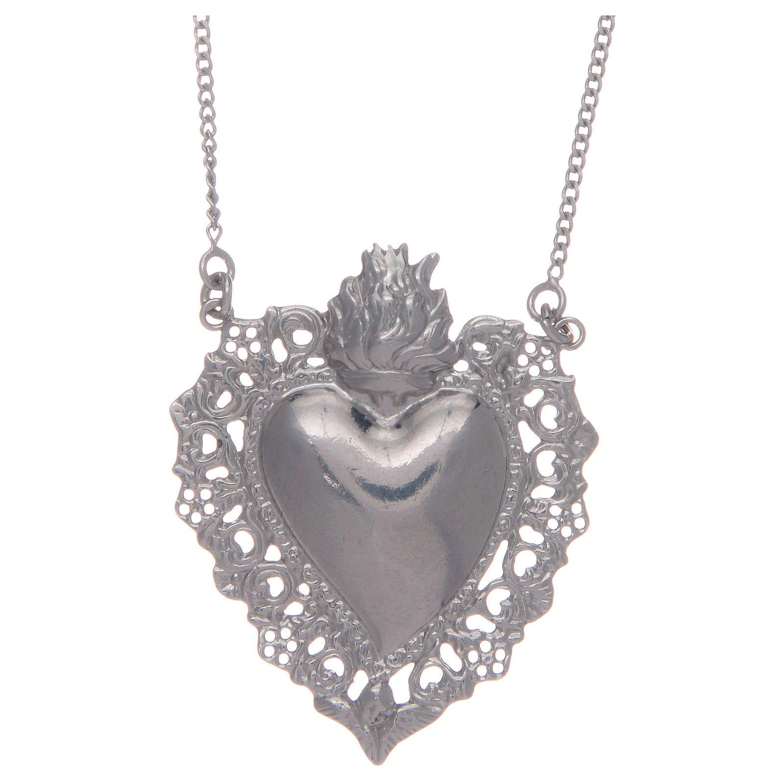 Girocollo in argento 925 cuore votivo traforato 4