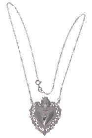 Girocollo in argento 925 cuore votivo traforato s2