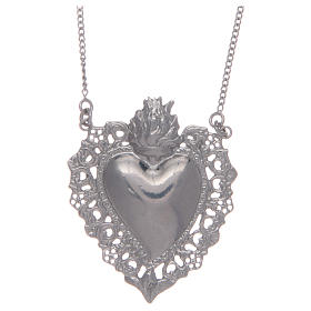Pendants, crosses and pins: 925 sterling silver choker with drilled votive heart
