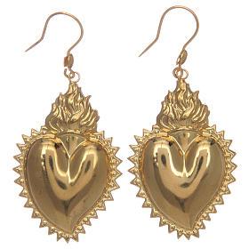 Boucles d'oreilles coeur ex-voto en argent 925 doré s1