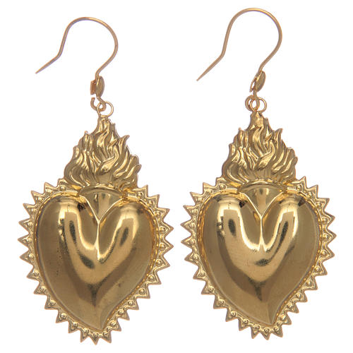 Orecchini cuore votivo in argento 925 dorato 1