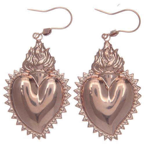 Pendiente plata 925 corazón exvoto rosado 1