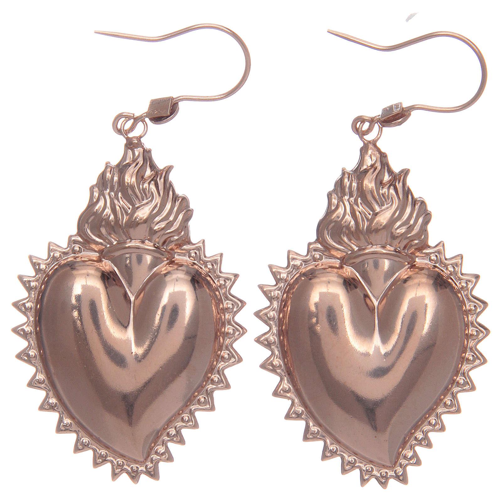 Orecchini in argento 925 con cuore ex voto rosato 4