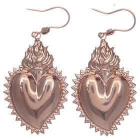 Orecchini in argento 925 con cuore ex voto rosato s1