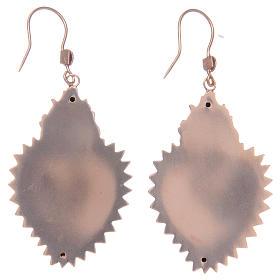 Orecchini in argento 925 con cuore ex voto rosato s2