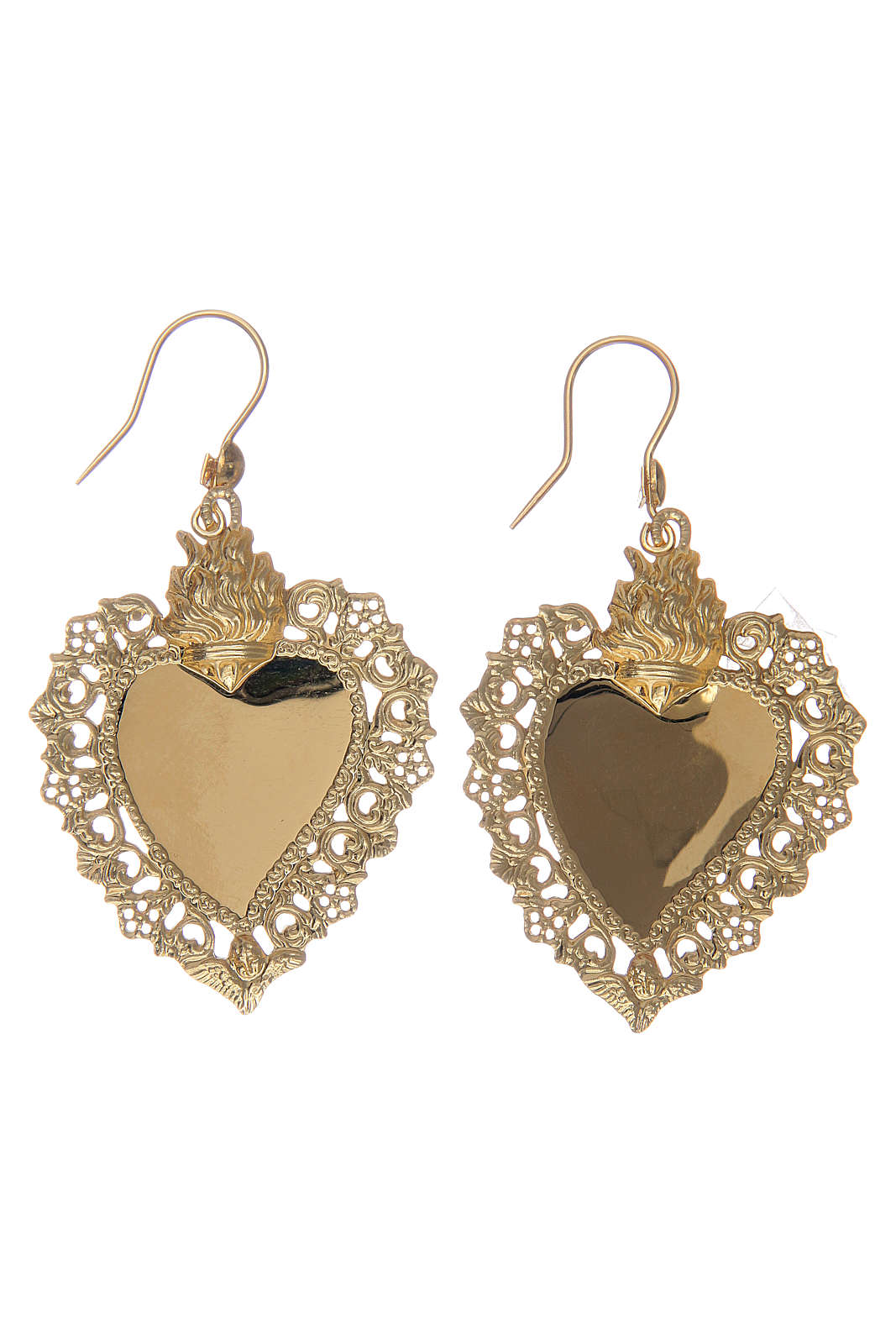 Earrings with votive heart drilled in 925 sterling silver finished in gold 4x3 cm 4
