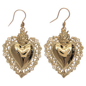 Earrings with votive heart drilled in 925 sterling silver finished in gold 4x3 cm s1