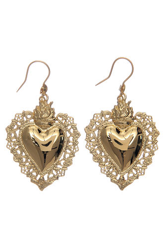 Earrings with votive heart drilled in 925 sterling silver finished in gold 4x3 cm 3