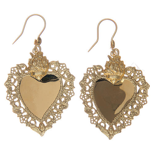 Earrings with votive heart drilled in 925 sterling silver finished in gold 4x3 cm 2