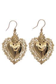 Orecchini cuore votivo traforato in argento 925 dorato 4x3 cm s3