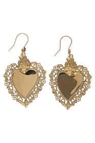 Orecchini cuore votivo traforato in argento 925 dorato 4x3 cm s4