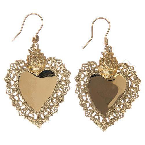 Orecchini cuore votivo traforato in argento 925 dorato 4x3 cm 2