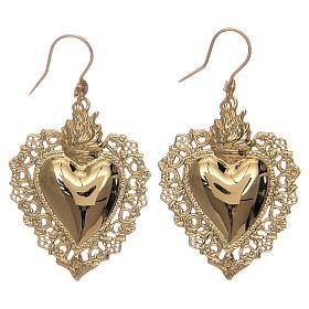 Pingentes, Cruzes, Broches, Correntes: Brincos coração ex-voto rendilhado em prata 925 dourada 4x3 cm