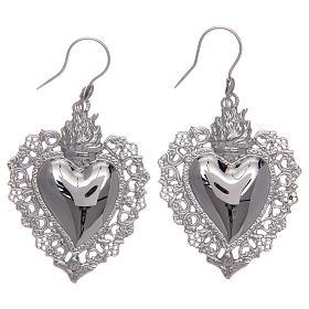Orecchini in argento 925 con cuore ex voto traforato s1