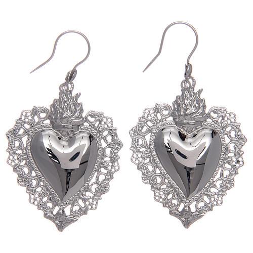 Orecchini in argento 925 con cuore ex voto traforato 1